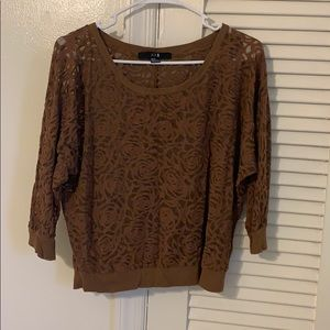 Brown lace pattern top